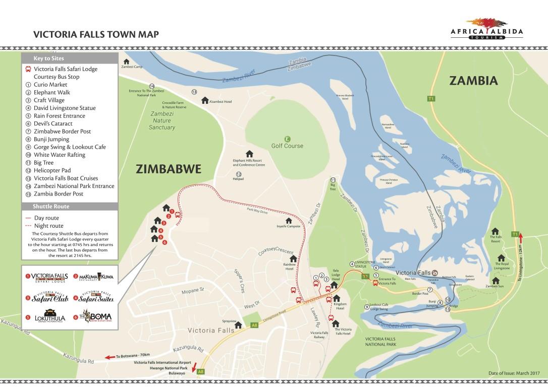 Victoria Falls Town Map Victoria Falls Town Map 2017 (Medium)   Victoria Falls Safari Lodge