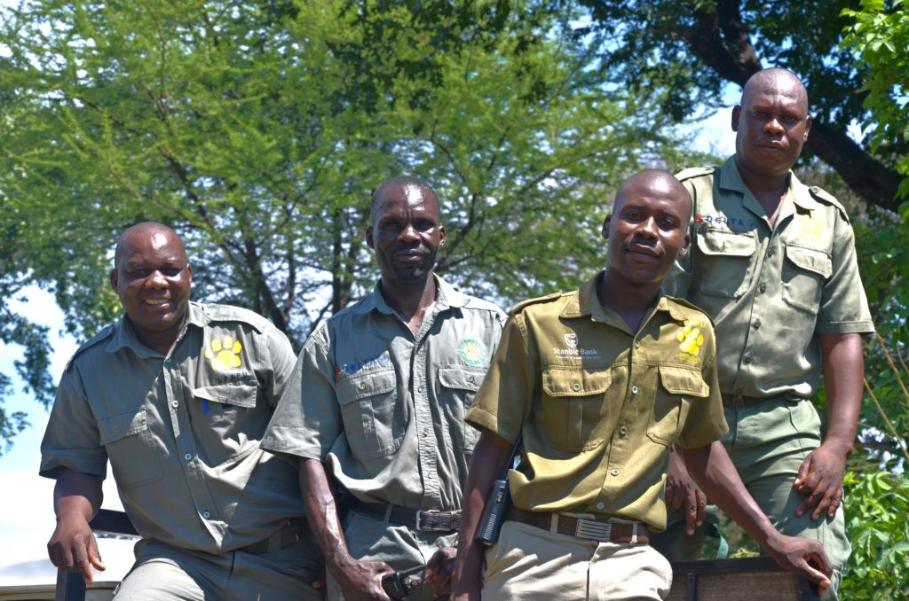 A group of Victoria Falls Anti-Poaching Unit scouts heading out on patrol.