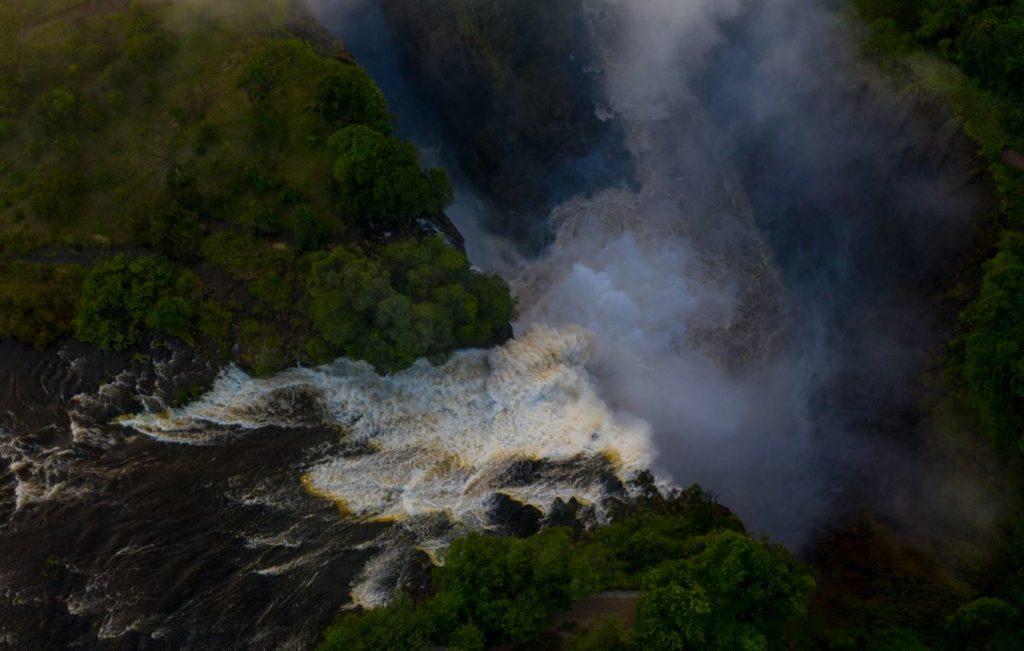The Mighty Zambezi Flowing Over Devils Cataract