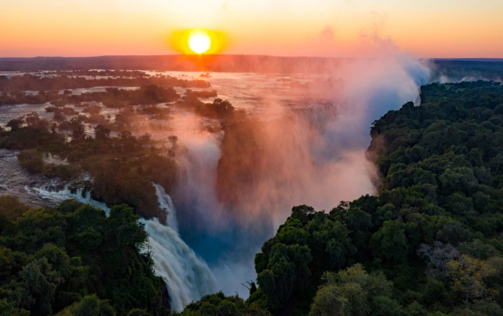 The Victoria Falls at sunrise on May 7, 2020